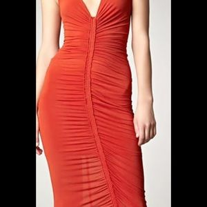 Donna Karan Orange ruched dress